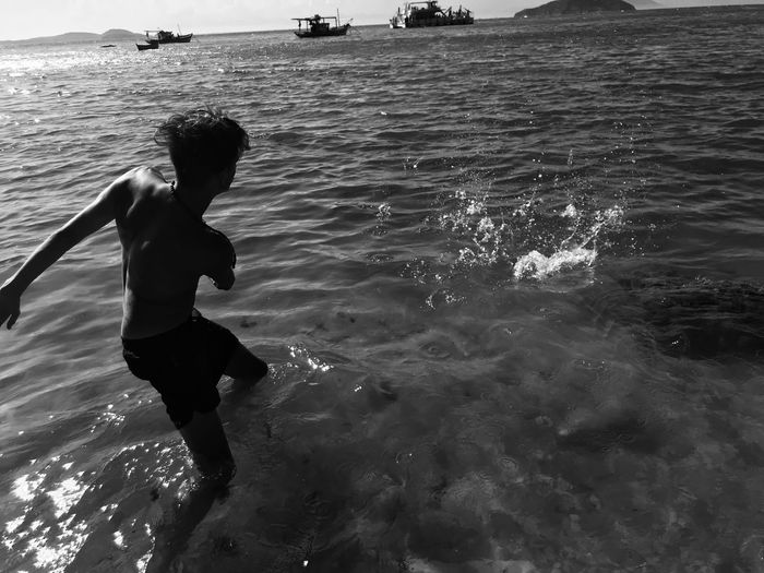When you were just a child... Real People Water Sea One Person Leisure Activity Lifestyles Nature Beach Childhood Outdoors Waterfront Motion First Eyeem Photo
