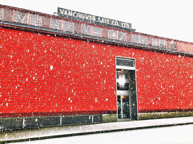 One snowy morning Building Exterior Red Architecture Built Structure Outdoors No People Day Winter Snow