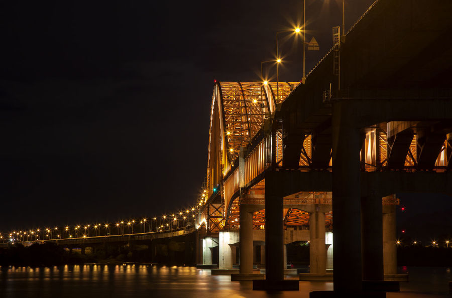 Architecture Banghwadaegyo Bridge Bridge - Man Made Structure Building Exterior Built Structure City City Life Connection Dark Engineering Han River Hangang Park Illuminated Lamp Post Long Night No People Outdoors Reflection River Sky Skyscraper Water Waterfront