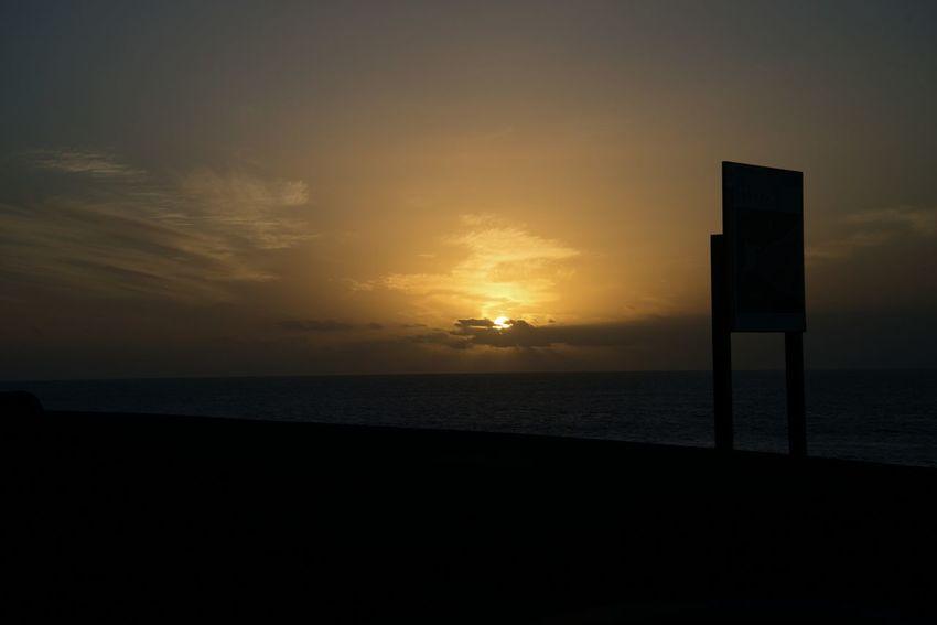 Sunset Sea Beach Silhouette Horizon Over Water Scenics Tranquility Beauty In Nature No People Nature Outdoors Sky Water Tranquil Scene Cloud - Sky Kanarische Inseln Fuerteventura SPAIN Kanaria Travel Destinations Vacations Night