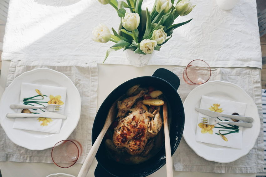 Easter chicken Bowl Chicken Comfort Food Day Dinner Easter Easter Ready Easter Sunday Flower Food Food And Drink Fork Freshness Healthy Eating High Angle View Indoors  Meal No People Plate Ready-to-eat Table Topdown Tulips
