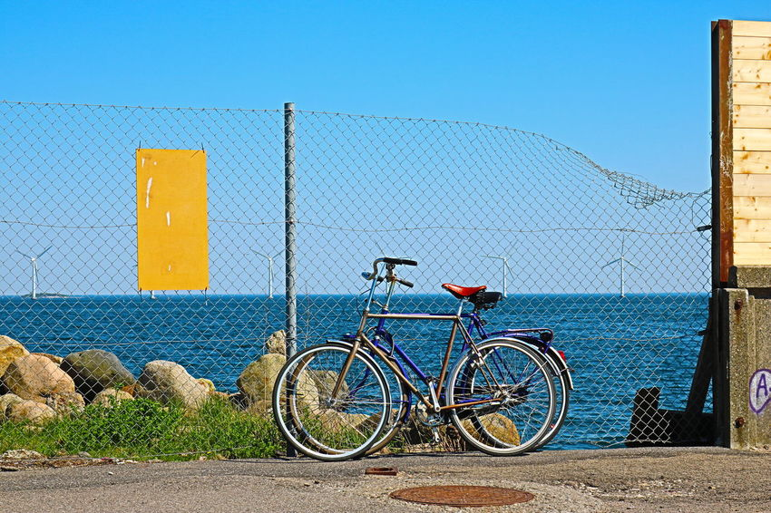 Bicycle Blue Copenhagen, Denmark Cykler Day Lynetten Outdoors Parking Refshaleøen Sea Shore Water