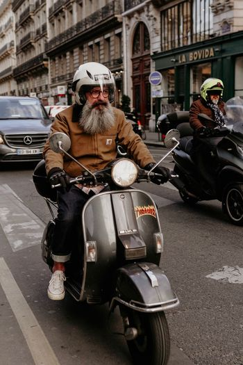 Mode Of Transportation Transportation City Architecture Street Land Vehicle One Person Real People Men Helmet Motorcycle Road Day Lifestyles Beard Crash Helmet The Art Of Street Photography