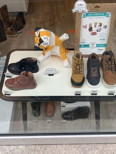 High angle view of people on table at store