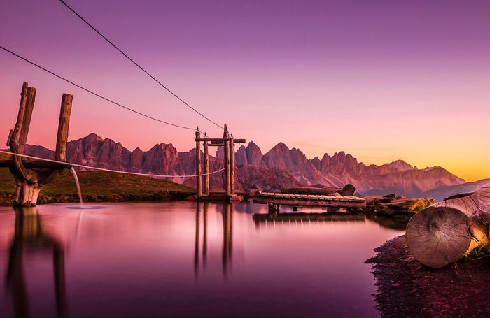 Dreaming of Dolomites Beauty In Nature Scenics Nature Water Sky Cable Outdoors No People Bridge - Man Made Structure Mountain Sunset Connection EyeEm Selects Südtirol Sudtiroloaltoadige Italy Dolomites, Italy Dolomites Dolomiti Dolomiten Brixen /Bressanone Brixen Plose Plose