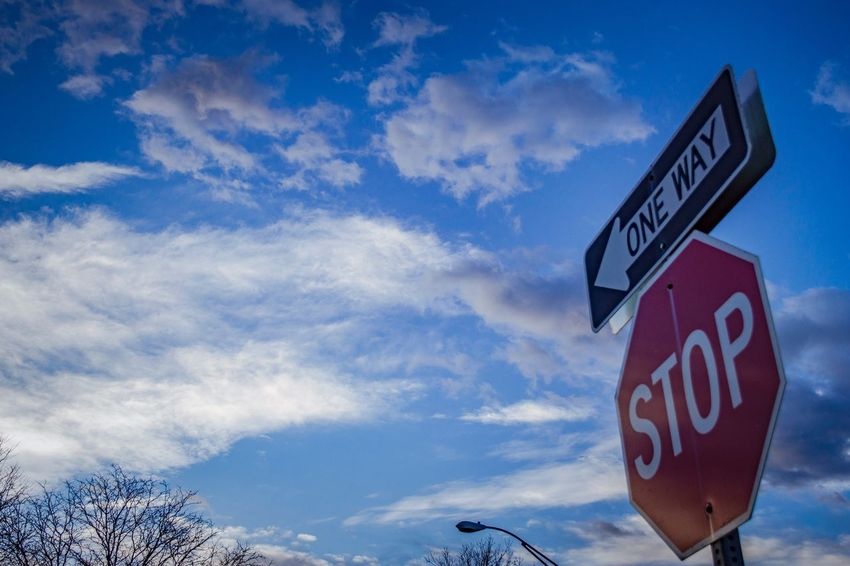 Stop One Way Morning Nature  Information Signs Capital Letters Early Morning Light Early Morning Walk One Way Street Sign One Way Sign Red Stop Sign Textured Background Blue Morning Sky Morning Sunlight City Living Sky In The Morning Communication Western Script Sky Text Cloud - Sky Sign Road Sign Stop - Single Word