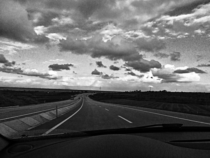Road On The Road Clouds And Sky
