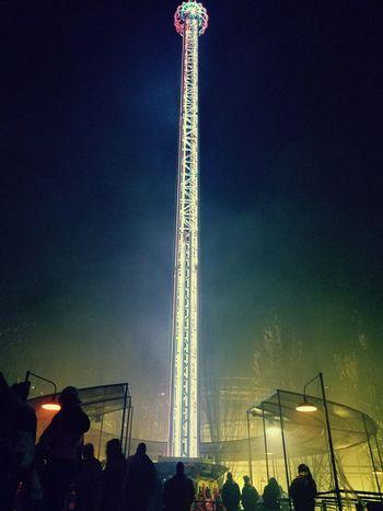 Crowd Themepark Carnival Ride Night Lights Fun At Night Silverwood Amusement Park