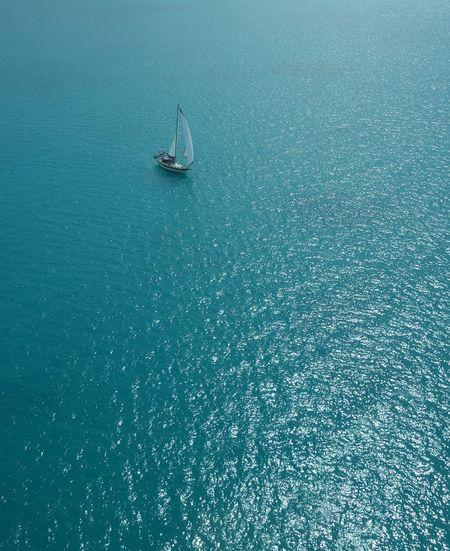 High Angle View Of Yacht On Sea