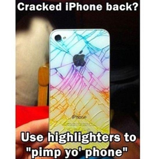 pimp yo phone IPhone Cracked Iphone Highlighters Followme