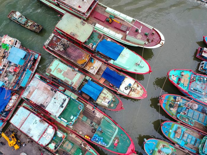 Looking down. Benoa Harbour, Bali. Boats And Water INDONESIA Drone Photogaphy Indonesian Harbor Asian Harbor Bali Denpasar Benoa Harbour Dji Colorful Many Colors Bows And Sterns Creative Shots Busy Harbor Indonesia Drone Photography Bali Drone Photography Aerial Photography Aerial Perspective Aerial Shot Of Boats Fishing Boats Boat High Angle View Transportation Nautical Vessel Outdoors Water Day Mode Of Transport Harbor Moored EyeEm Ready   EyeEmNewHere