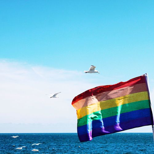 Flag Against Calm Blue Sea And Sky