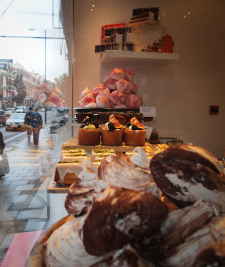 Bakery Baking Colorful Cupcakes Day Food Indoors  Pastries Rainy Day Ready-to-eat Shop Display Shop Window Sweet Food Sweets Tasty Temptation Windowshopping