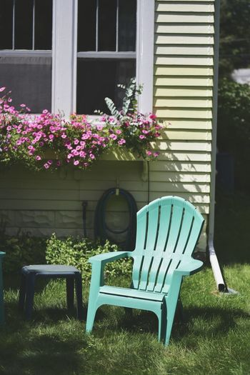Chair in back yard of house