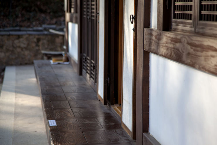 Absence Closed Door Doorway Empty Entrance Exterior Flooring Glass Glass - Material Home Interior House Houses Indoors  Korea Traditional Architecture Leading Narrow Open Perspective Silsangsa The Way Forward Transparent Wall Window Wooden Floor