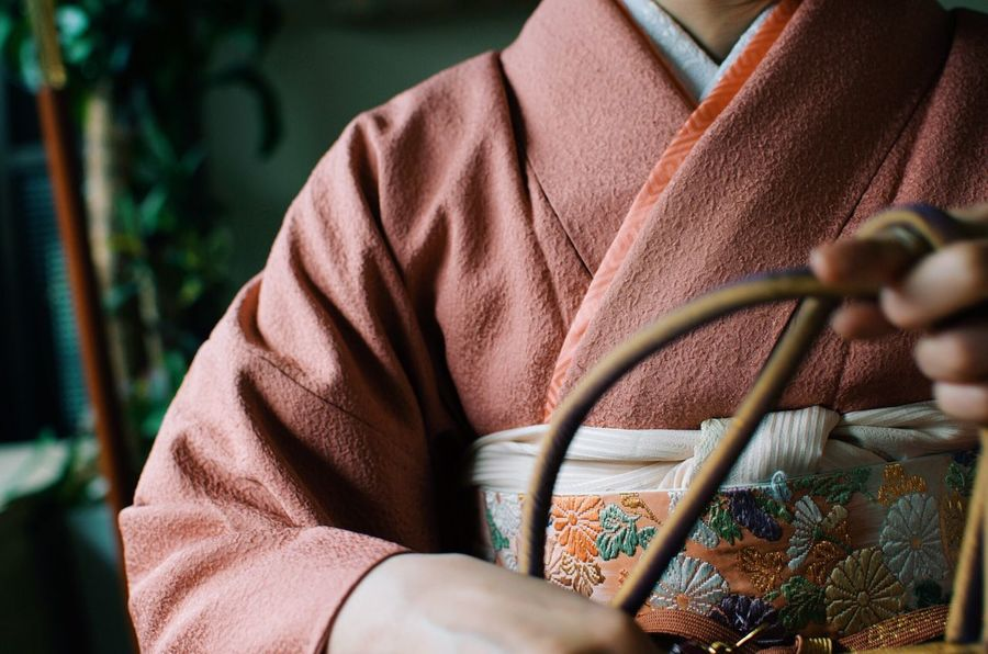 Kimono Japanese  Portrait Pink