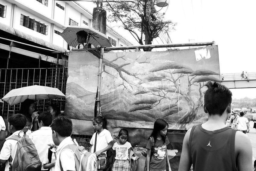 Lifestyles Outdoors People Real People Documentary Photo Monochrome Black And White Photography Eyeem Philippines Classic Style Photojournalism Low Angle View Streetphotography Students Students Life Juxtaposition