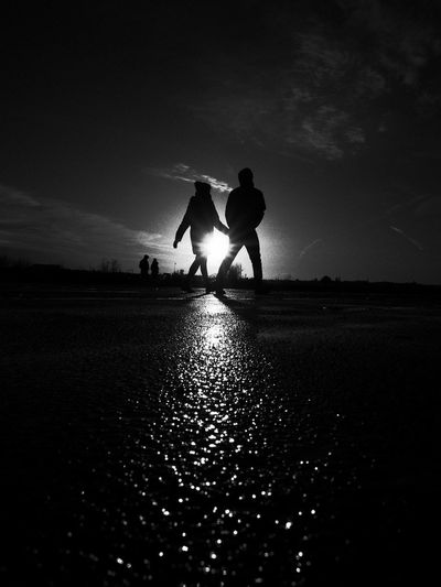 Black & White Black And White Blackandwhite Welcome To Black Forever Friends Friendship Hand In Hand Life Life In Motion Lifestyle The City Light Love Scenics Sun Sunrise My Year My View Together Together Forever Capture Berlin Walking People And Places Berlin Photography Tempelhofer Freiheit Tempelhofer Feld BYOPaper!