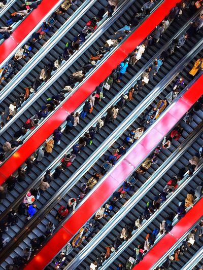 Full frame shot of people on escalators minatomirai station