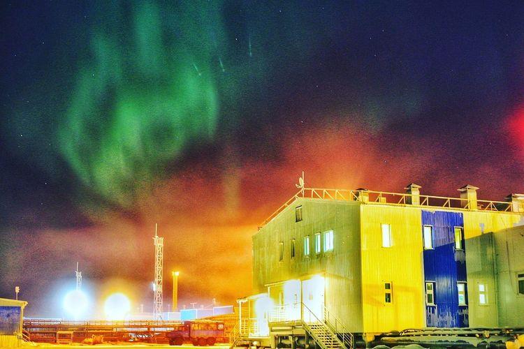Север полярная ночь северное сияние заполярье