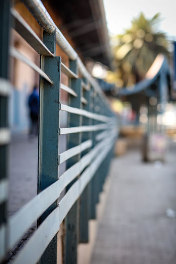 Railing Barrier Built Structure Day Diminishing Perspective Focus On Foreground Footpath In A Row Metal Metal Structure Outdoors Railing Selective Focus The Way Forward Walkway