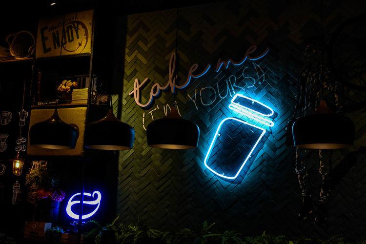 Coffe Shop Coffee Project Dim Light Neon Illuminated darkness and light Darkroom