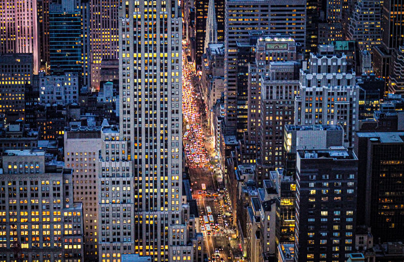 Rush hour in late-night new york from the heights of the rockerfeller center