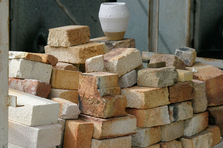 Stack of bricks in construction site