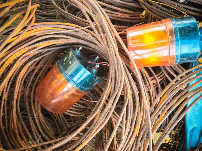 High angle view of emergency lights on cables
