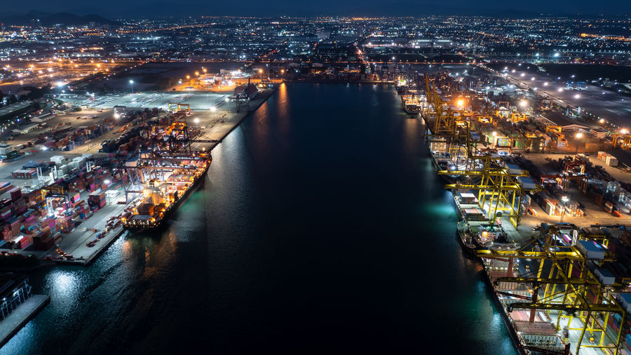 Aerial view shipping port international and container cargo ship export and import business service
