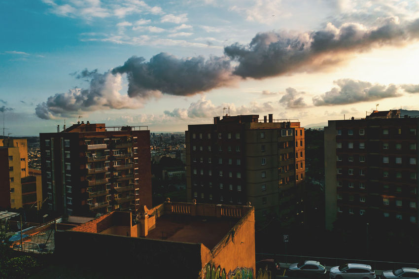 Apartment Architecture Building Building Exterior Built Structure City City Life Cityscape Cloud - Sky Day Dusk High Angle View Nature No People Outdoors Pollution Residential District Sky Storm Sunset My Best Travel Photo
