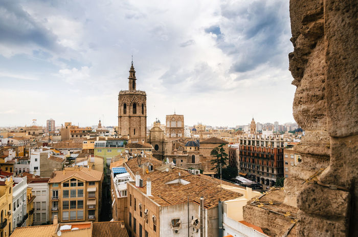 Aerial view of the old town in Valencia from Santa Caterina tower, Spain SPAIN València Architecture Building Building Exterior Built Structure City Cloud - Sky Nature Outdoors Residential District Sky Tower TOWNSCAPE Travel Travel Destinations