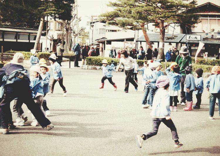 School Children Running On Playground