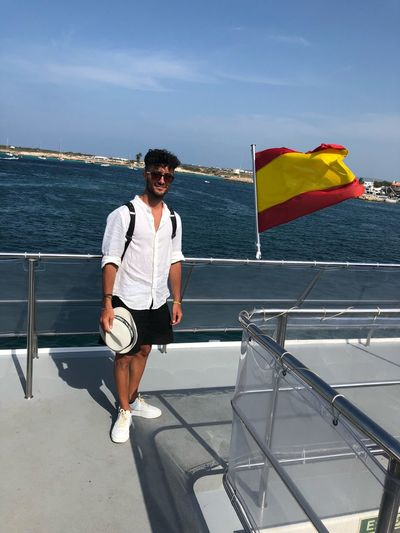 Around the world SPAIN Sunrise Formentera Ibiza Sun Happy Life Water Real People Sea One Person Sky Full Length Leisure Activity Lifestyles Standing Fashion Sunglasses Glasses Casual Clothing Day Nature