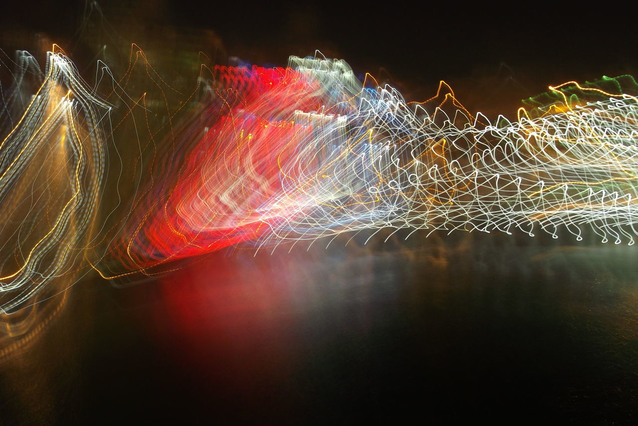 night, long exposure, multi colored, no people, illuminated, light trail, motion, outdoors, close-up, sky