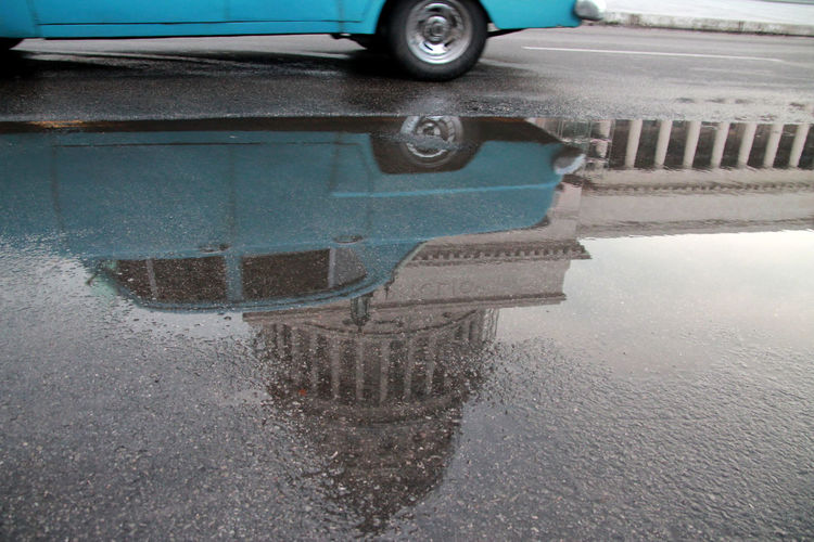 Been There. Cuban Street Havana, Cuba Havanna, Cuba Close-up Day El Capitolio  Land Vehicle Mode Of Transport No People Outdoors Rainy Day Reflections In The Water Road Transportation Water