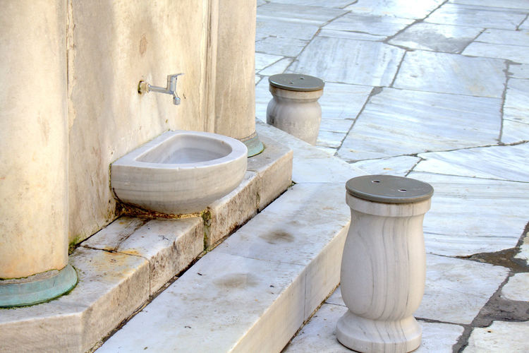 Chair Chairs Church Close-up Day Empty Marble Marbledstone Mosque No People Old Pipe - Tube Religion Religious  Religious Architecture Sitting Wash Washing Your Design Story