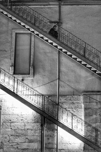 Black And White Wall Night Iron Stairs Metal Day Wall - Building Feature Architecture Built Structure Building Exterior Railing