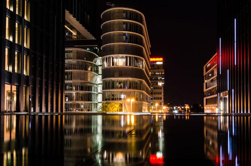Düsseldorf EyeEmNewHere Modern Modern Architecture Architecture Germany Illuminated Media Harbor Medienhafen Night No People Reflection Sky Travel Destinations Water