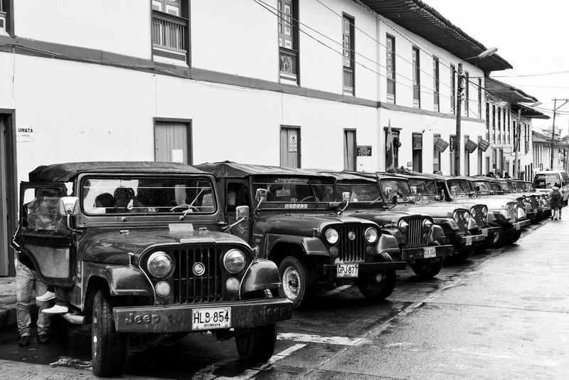 Filandia Zona Cafetera Colombia South America Willy Willy's Transportation Jeep 4x4 Colonial Historical Old Town Black And White Monochrome Photography Travel Traveling The Drive Art Is Everywhere The Street Photographer - 2017 EyeEm Awards Black And White Friday This Is Latin America