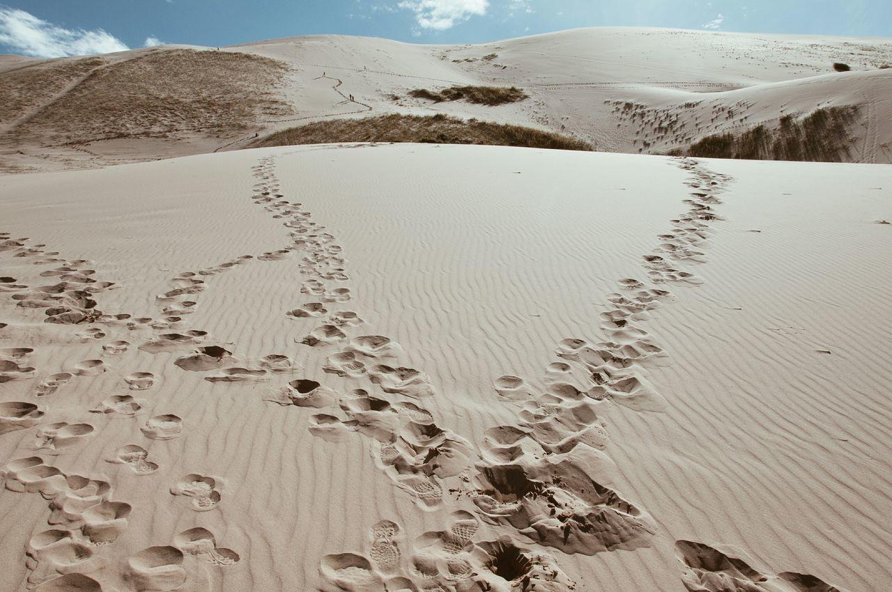 Footprints on sand in gobi desert
