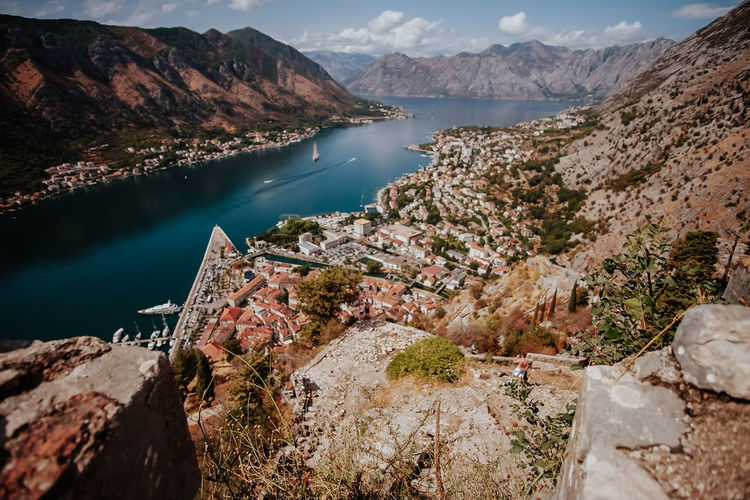 Kotor, Montenegro Water Beauty In Nature Day Nature Mountain Scenics - Nature Lake High Angle View No People Tranquil Scene Rock Tranquility Mountain Range Solid Rock - Object Non-urban Scene Sky Environment Outdoors