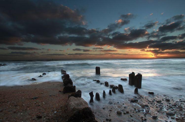 Wood Beach Evening Groynes Long Exposure Seascape Sky Sunset