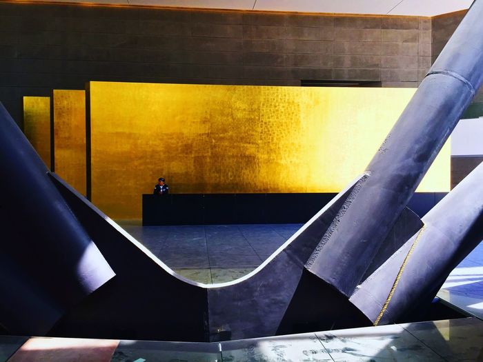 Architecture Contemporary Built Structure Day Mexico City Building Lobby Gold Concrete Steel Guard Duty People Wall Reception Reforma Torre Tower Paint The Town Yellow