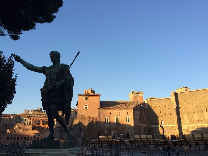 Statue of augustus caesar at forum of augustus against clear sky