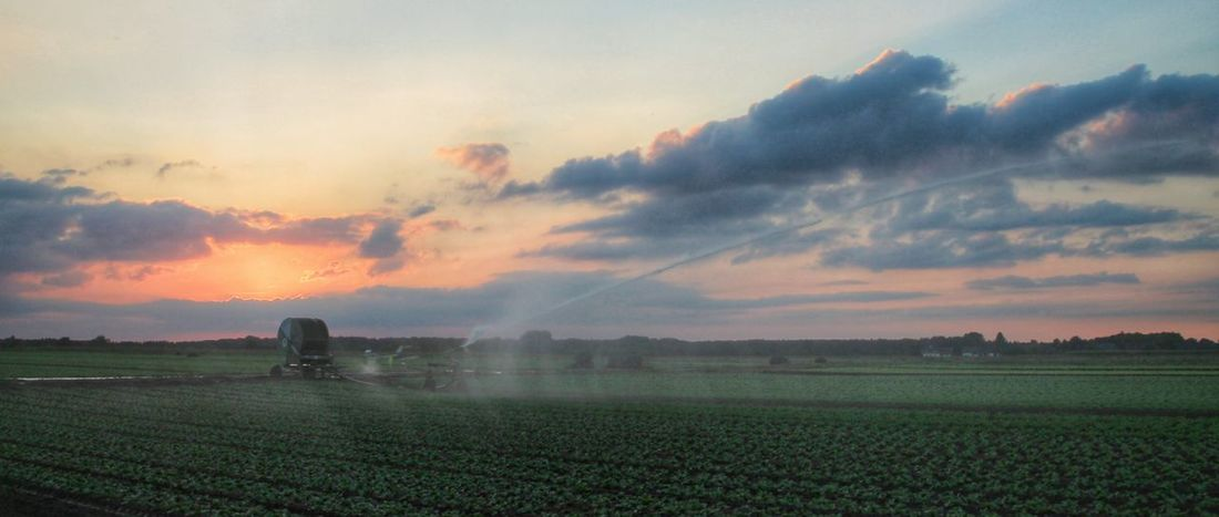 North Europe Germany Gützenrath Field Fields Sunset Farm Equipment