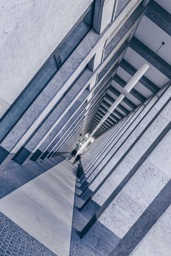 High angle view of staircase by building in city