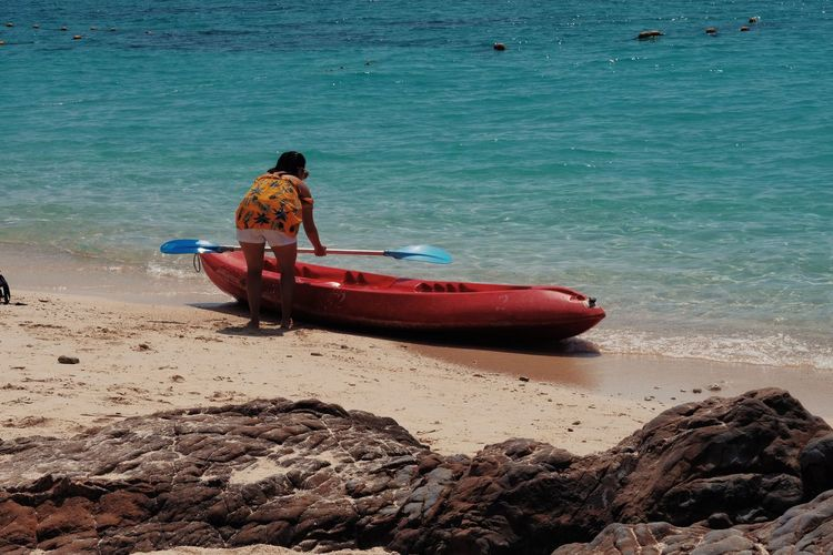 Beach Beauty In Nature Day Inflatable  Land Mode Of Transportation Moored Nature Nautical Vessel No People Outdoors Rock Sand Scenics - Nature Sea Tranquil Scene Tranquility Transportation Water