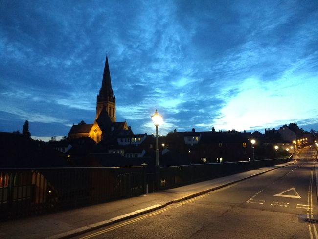 St Michael's And All Angels Church Exeter Exeter Church Church At Night  Church At Dusk Architecture Cityscape No People Urban Skyline Church Place Of Worship No Filter, No Edit, Just Photography view from iron bridge towards st michaels church. The Week On EyeEm