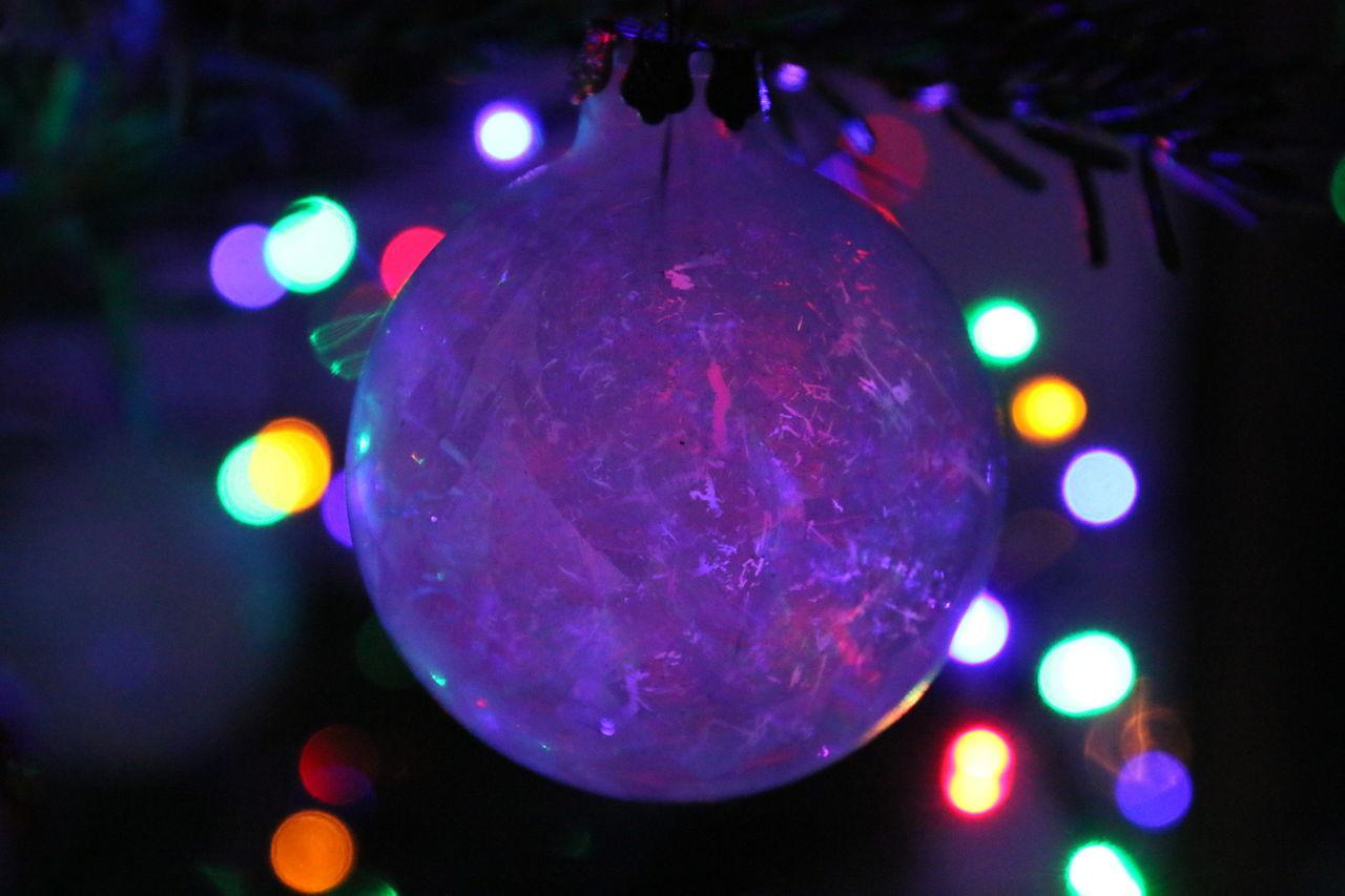 celebration, hanging, night, illuminated, christmas, christmas decoration, christmas lights, lighting equipment, christmas tree, christmas ornament, no people, focus on foreground, close-up, bauble, indoors